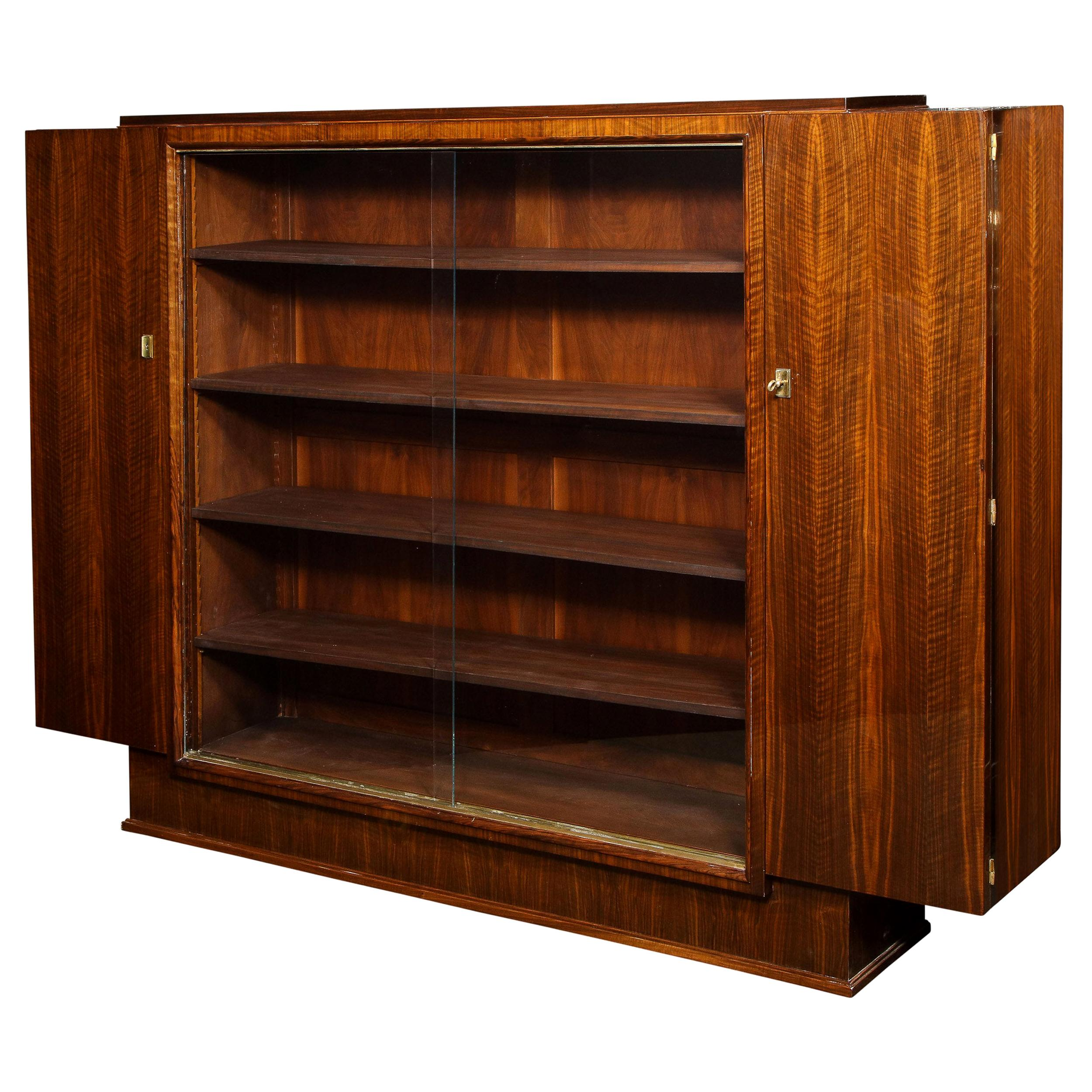 Signed Jules Leleu French Art Deco Bookmatched Rosewood Cabinet or Bibliothèque