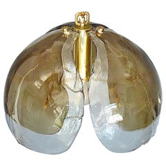 Signed Kaiser Pendant Lamp Kalmar Mazzega Style Murano Ice Glass Dome Brass 1960