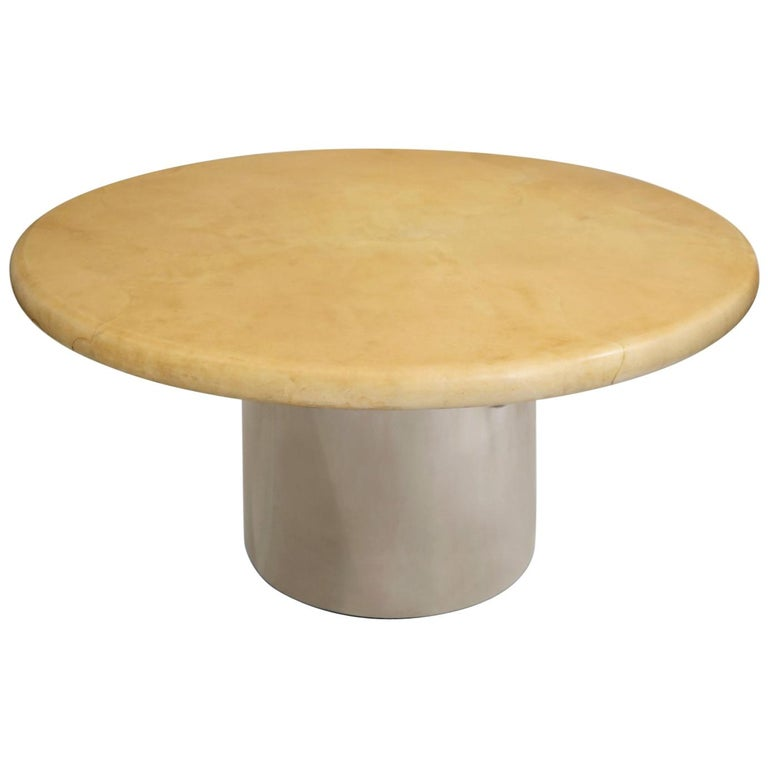 Signed Karl Springer Dining Table In Natural Goatskin And Steel 1970s For