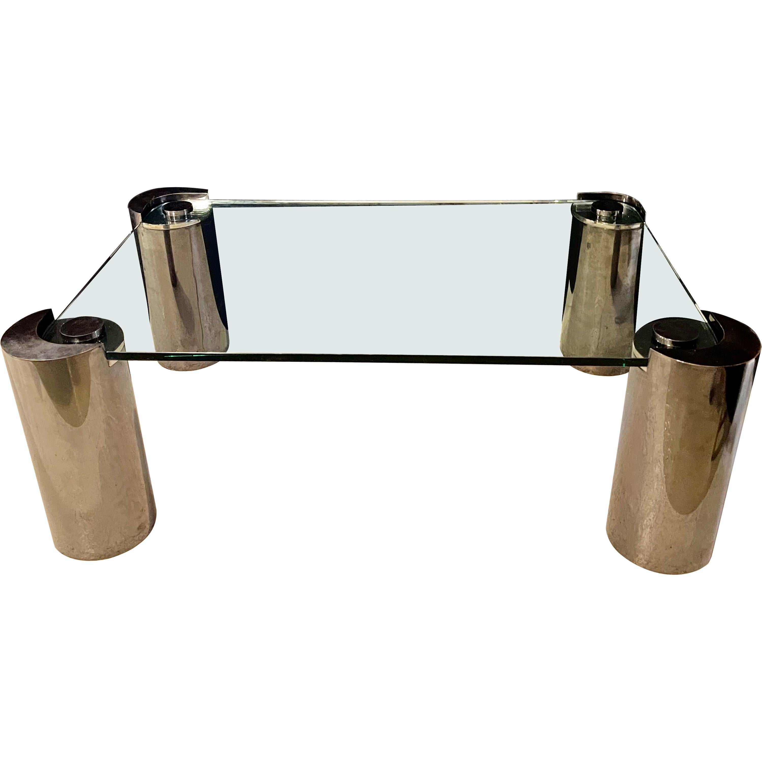 Signed Karl Springer Glass Top Coffee Table