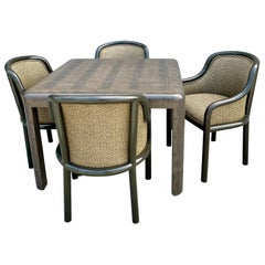 Signed Karl Springer Lizard Embossed Leather Table and Four Lacquered Chairs