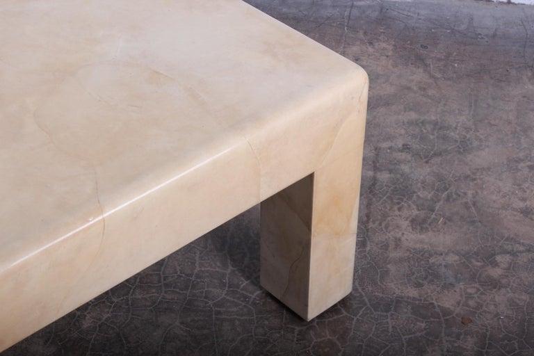 Signed Karl Springer Parchment Goatskin Table For Sale 7