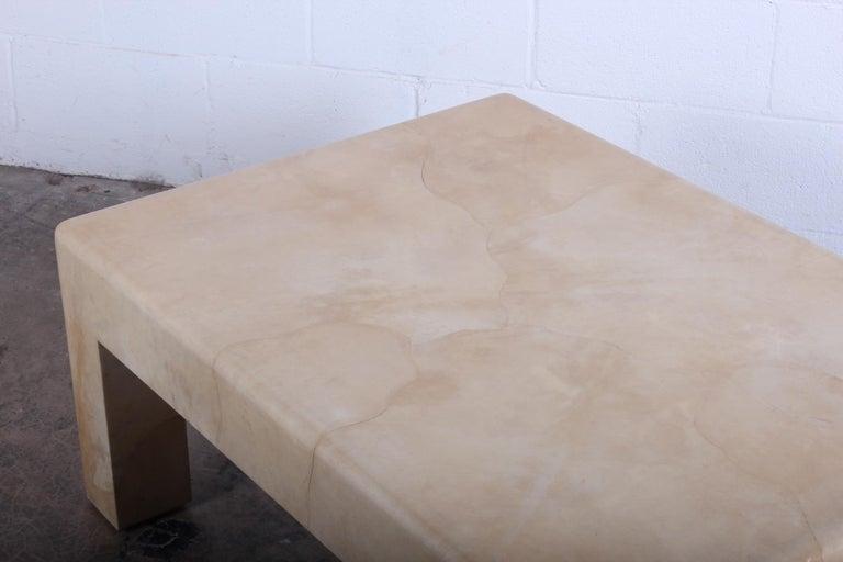 Signed Karl Springer Parchment Goatskin Table For Sale 8