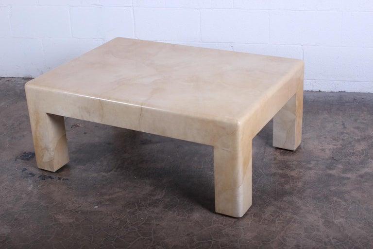 Signed Karl Springer Parchment Goatskin Table For Sale 9