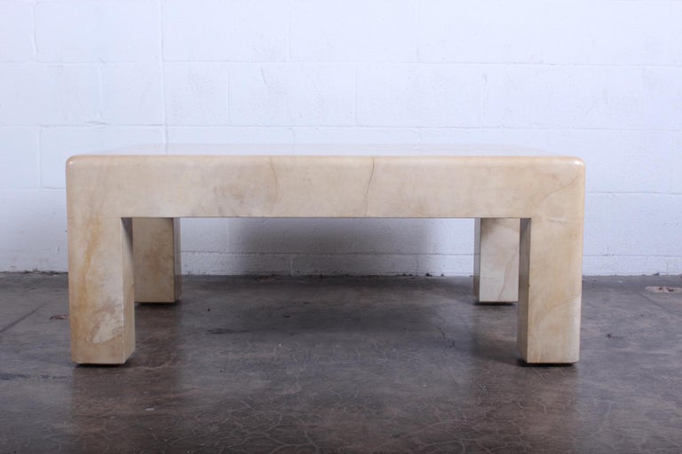Signed Karl Springer Parchment Goatskin Table In Good Condition For Sale In Dallas, TX