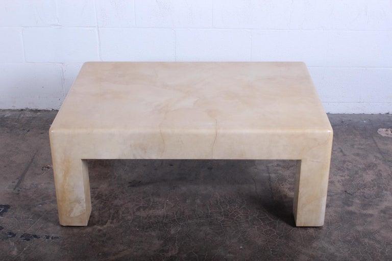 Signed Karl Springer Parchment Goatskin Table For Sale 1