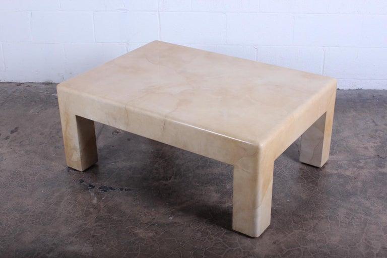 Signed Karl Springer Parchment Goatskin Table For Sale 2