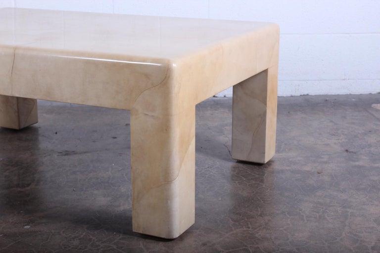 Signed Karl Springer Parchment Goatskin Table For Sale 3