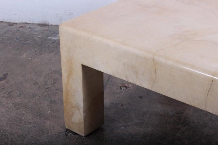 Signed Karl Springer Parchment Goatskin Table For Sale 4