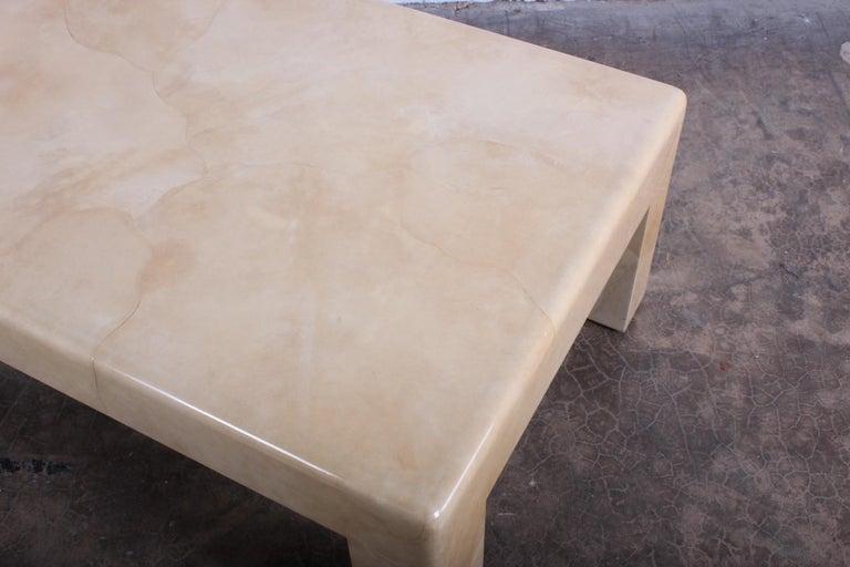 Signed Karl Springer Parchment Goatskin Table For Sale 5