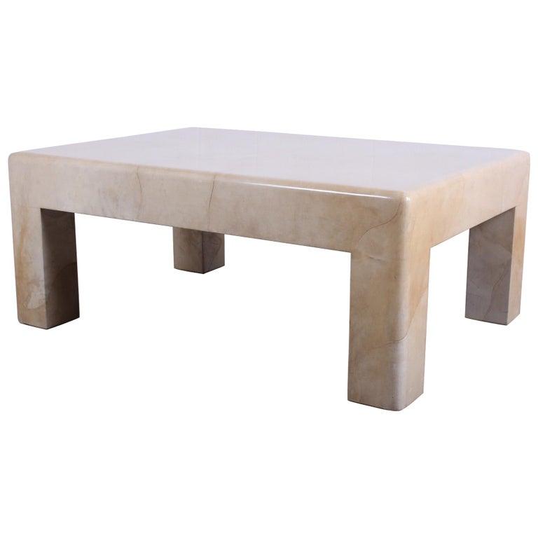 Signed Karl Springer Parchment Goatskin Table For Sale