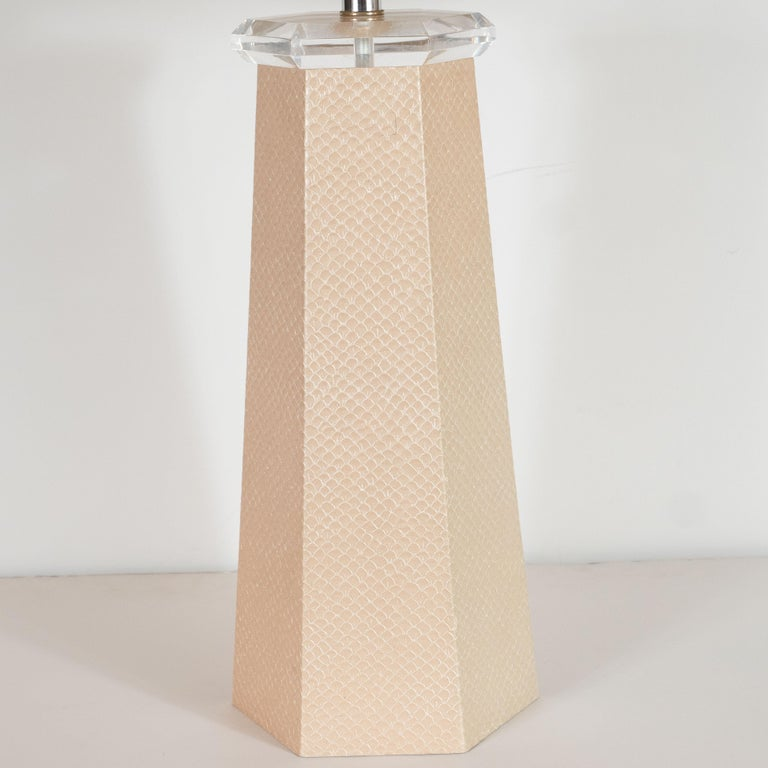 Late 20th Century Signed Karl Springer Table Lamp in Buff-Colored Snakeskin For Sale
