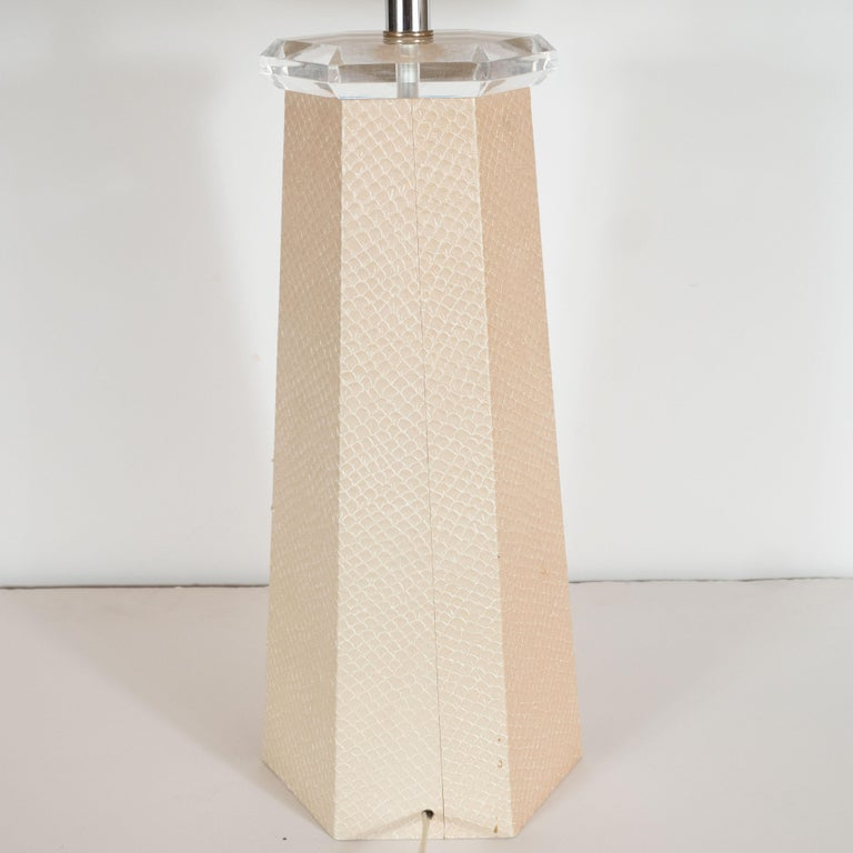 Signed Karl Springer Table Lamp in Buff-Colored Snakeskin For Sale 1