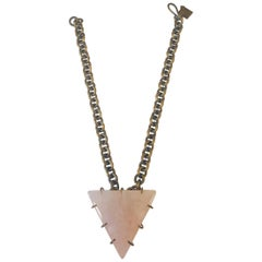 Signed Kelly Wearstler Pink Quartz & Patinated Brass Pyramid Necklace