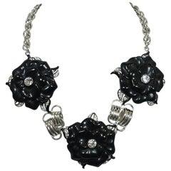 Signed Kenneth J. Lane Black Floral Necklace