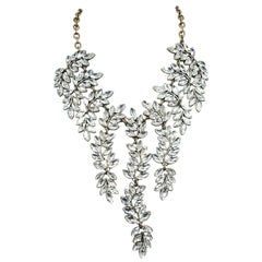 Signed Kenneth Jay Lane Crystals Drops Necklace