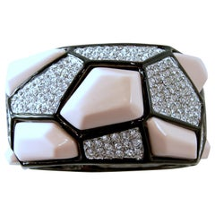 Signed Kenneth Jay Lane Pink & Rhinestone Clamper Bracelet