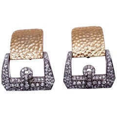 Signed Kenneth Lane Buckle Crystal Earrings