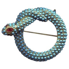 Signed Kenneth Lane Turquoise Serpent Snake by Kenneth Jay Lane KJL Brooch Pin