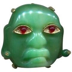 Signed KJL Faux Green Jade Mask Kenneth Jay Lane Brooch Pin Estate Find