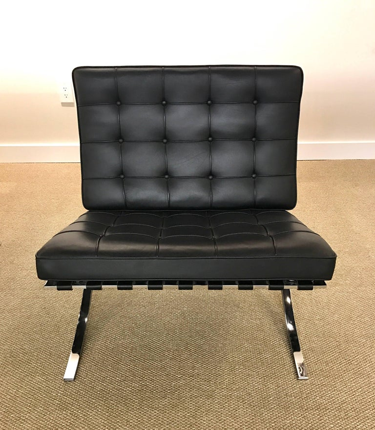 Signed Knoll Black Leather Barcelona Chair By Ludwig Mies Van Der