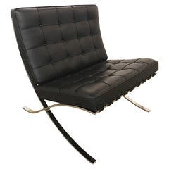 Signed Knoll Black Leather Barcelona Chair by Ludwig Mies van der Rohe