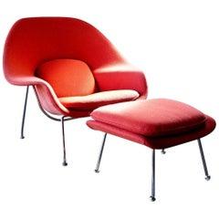 Signed Knoll Mid-Century Modern Eero Saarinen Red Womb Chair with Ottoman