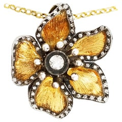 Signed Kurtulan Diamond Flower Pendant and Chain Solid Gold 24 Karat with Silver