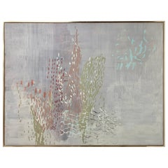 Signed Large Floral Abstract Mixed-Media by Laura Fayer