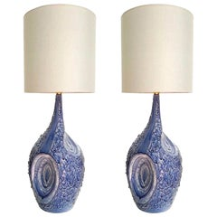 Large Textured Blue & White Ceramic Italian Mid-century Table Lamps, Signed.