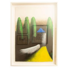 Signed Larry Laslo Green, Yellow, Black Landscape on Paper Custom Framed