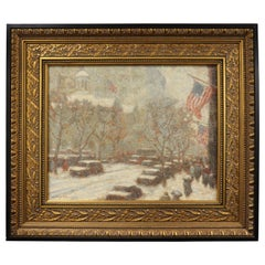 Signed Laurence A. Campbell Oil on Board Winter Chestnut Street Dated 1994