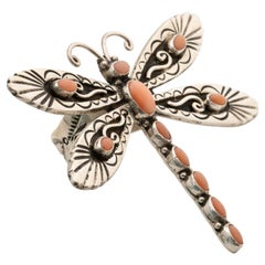 Signed Lee Charley JR Large Navajo Sterling Silver and Coral Dragonfly Ring