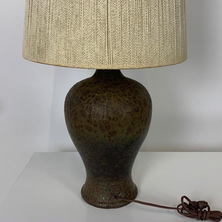 Glazed Signed Lee Rosen Design Technics Textured Glaze Ceramic Lamp w Original Shade For Sale