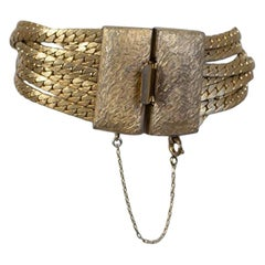 Signed Les Bernard Brushed Gold Seven-Chain Disco Bracelet, 1970s