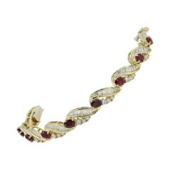 Signed Lester Lampert 18 Karat, Ruby and Diamond Bracelet, 'circa 1980s'