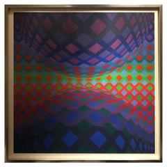 "Signed Limited Edition Op Art Serigraph ""Reech"" by Victor Vasarely"