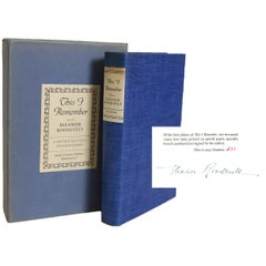 Signed Limited Eleanor Roosevelt's This I Remember, First Edition 1949
