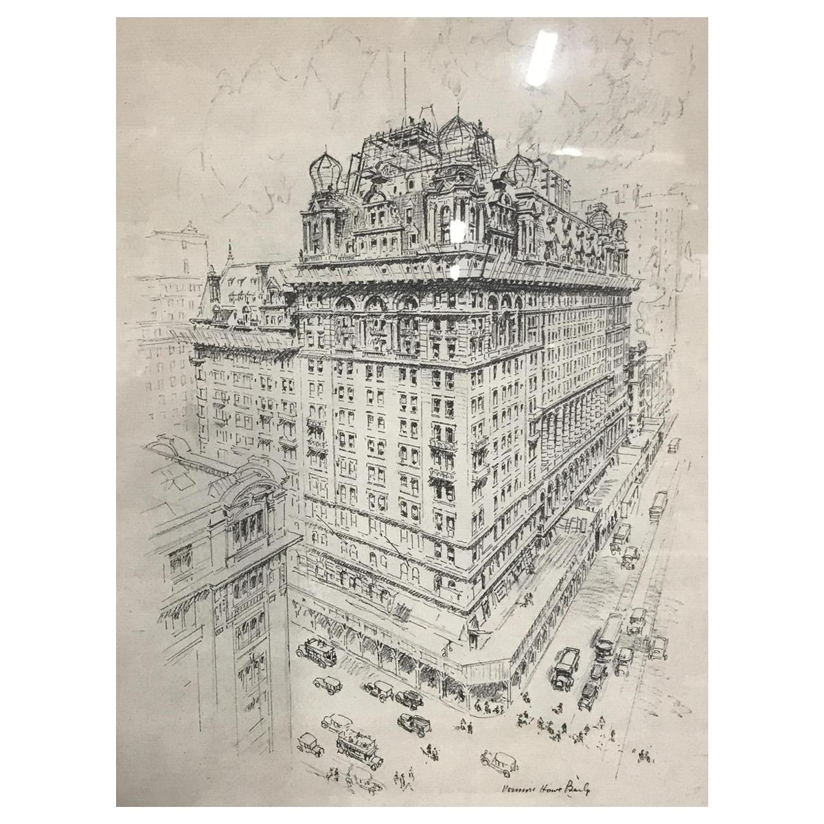 Signed Lithograph of a Cityscape, A New York City Building