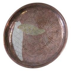 Signed Los Castillo Polished Copper Mid-Century Serving Platter
