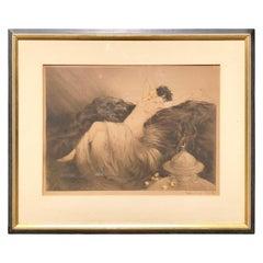 "Signed Louis Icart Etching ""Smoke"" Reclining Nude Art Deco Frame"