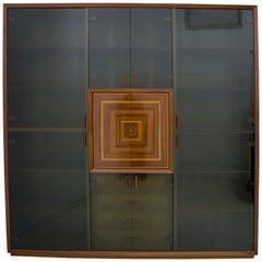 "Signed Luciano Frigerio Rare Italian Inlaid Bar Cabinet ""Paganini"", 1975s"