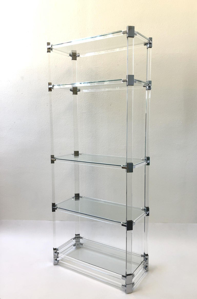 Signed Lucite and Chrome Étagère by Charles Hollis Jones For Sale 2