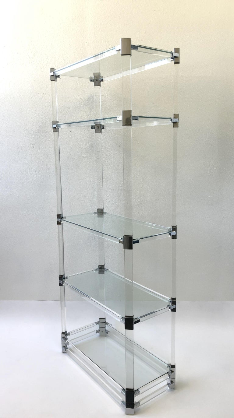 Modern Signed Lucite and Chrome Étagère by Charles Hollis Jones For Sale
