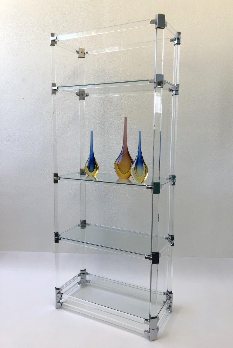 American Signed Lucite and Chrome Étagère by Charles Hollis Jones For Sale