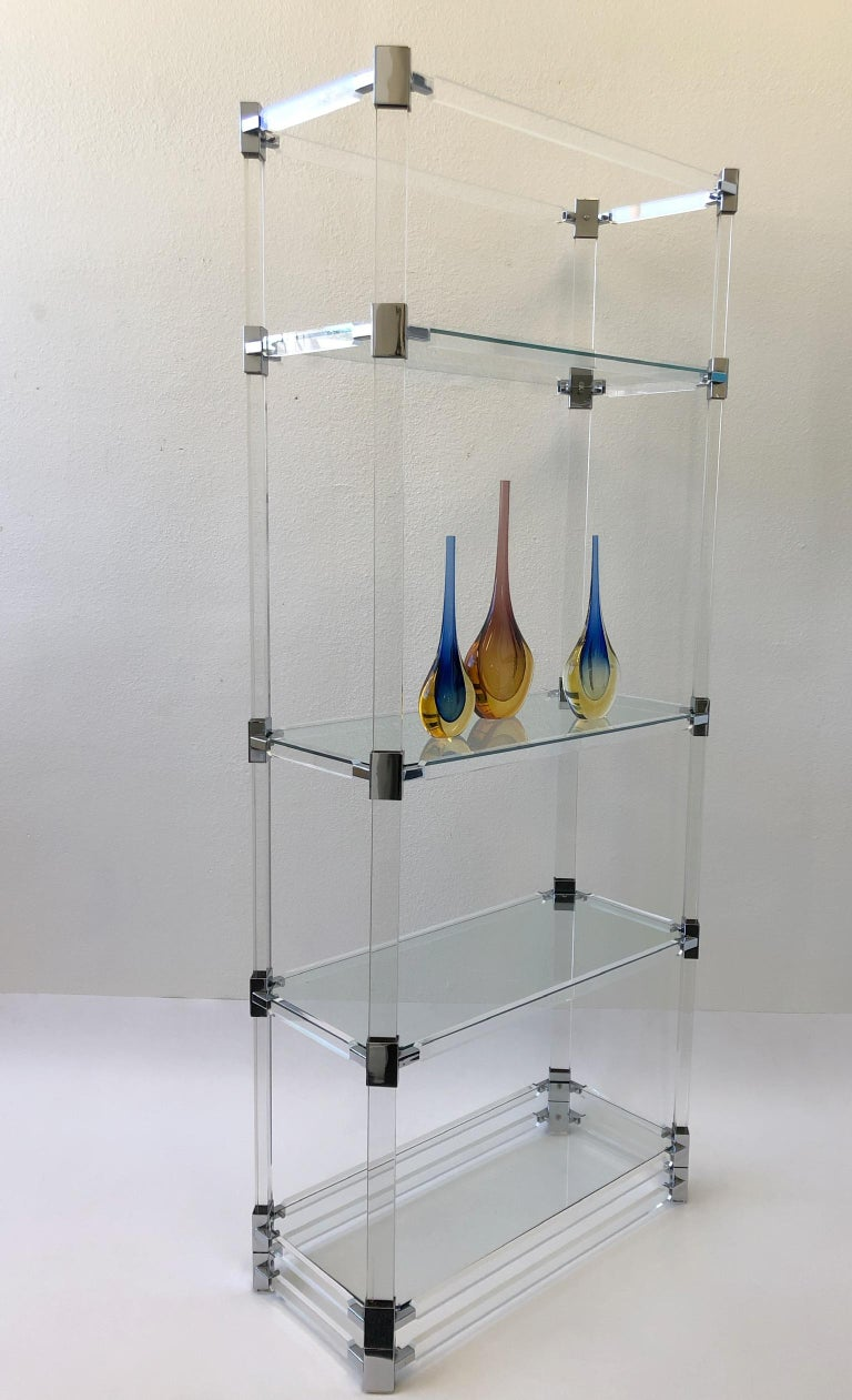 Polished Signed Lucite and Chrome Étagère by Charles Hollis Jones For Sale