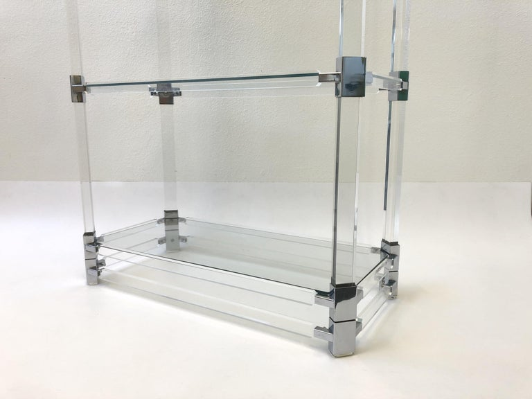 Late 20th Century Signed Lucite and Chrome Étagère by Charles Hollis Jones For Sale