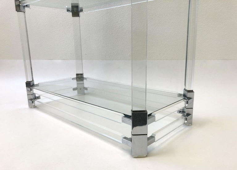Glass Signed Lucite and Chrome Étagère by Charles Hollis Jones For Sale