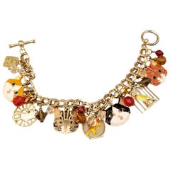 Signed Lunch at the Ritz Multi Charm Cats, Mouse and Bird in Gilt Cage Bracelet