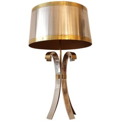 "Signed Maison Charles Brass and Stainless Steel ""Corolle"" Table Lamp, 1970s"